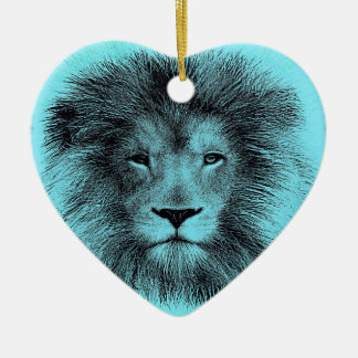 Blue Lion Ceramic Heart Decoration