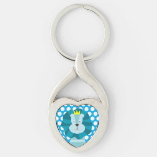 Blue Lion on Blue Dotted Key Chain Silver-Colored Twisted Heart Key Ring