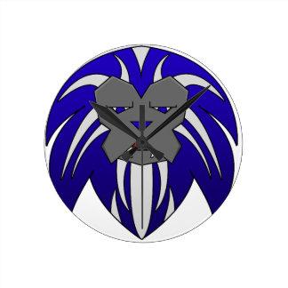 Blue Lion Round Clock