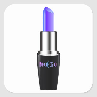 Blue lipstick square sticker