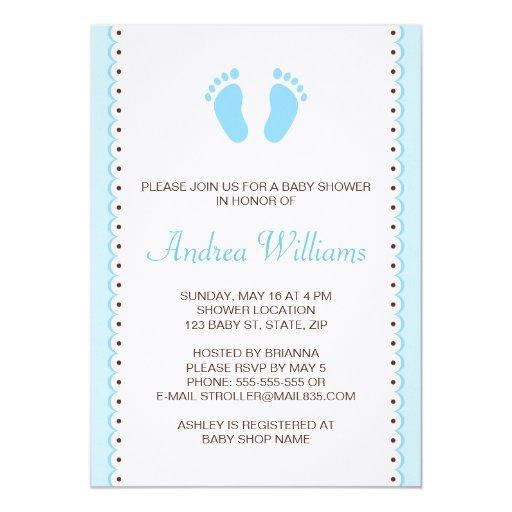 Blue little feet boys baby shower invitation