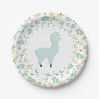Blue Little Llama Paper Plate