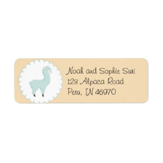 Blue Little Llama Return Address Labels