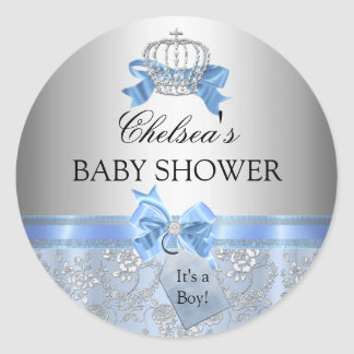 Blue Little Prince Crown Baby Shower Sticker
