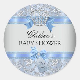 Blue Little Prince Crown Baby Shower Sticker