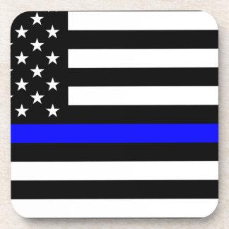 Blue Lives Matter - US Flag Police Thin Blue Line Coaster