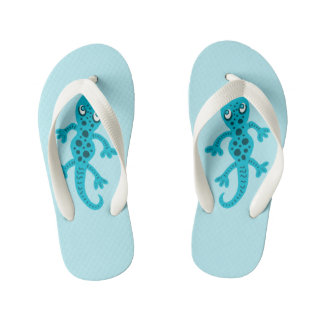 Blue Lizard Gecko Clip Art Illustration Kid's Flip Flops