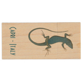 Blue lizard, geko - Capri - Faraglioni Wood USB Flash Drive