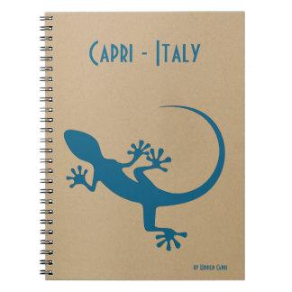 Blue lizard, geko - Faraglioni, Capri, Italy Spiral Note Books