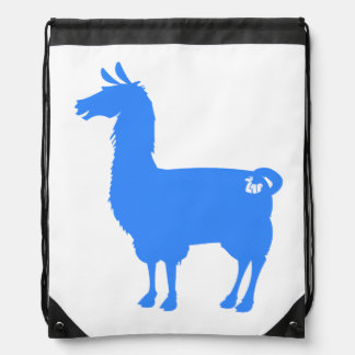 Blue Llama Drawstring Bag