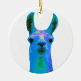 Blue Llama Graphic Christmas Ornament