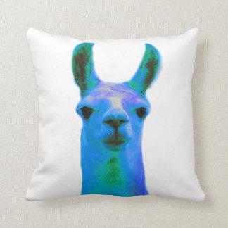 Blue Llama Graphic Throw Pillow