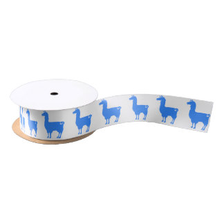 Blue Llama Ribbon Satin Ribbon