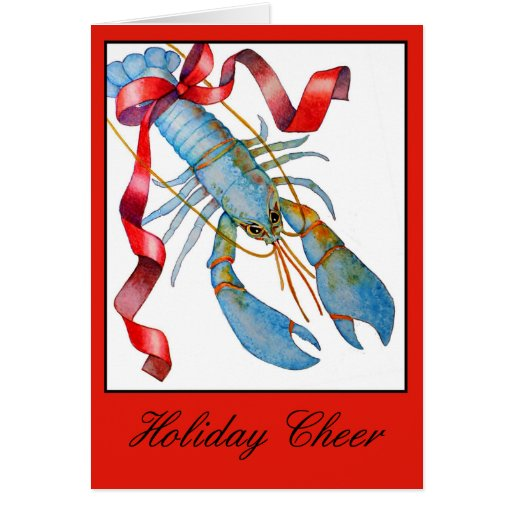 Blue Lobster Holiday Christmas Card