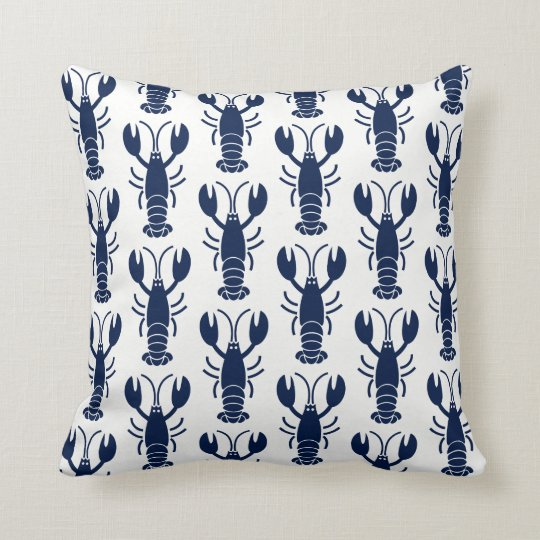 Blue Lobster Pattern on White Throw Pillow