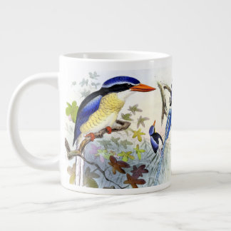 Blue Long Tailed Kingfisher Birds Jumbo Mug