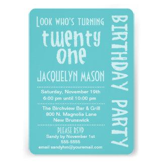 Blue Look Who s Turning 21 Birthday Invitation