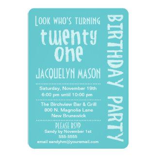 Blue Look Who's Turning 21 Birthday Invitation