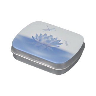 Blue Lotus and Dragonflies Candy Tin