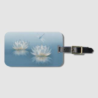 Blue Lotus and Dragonfly Luggage Tag