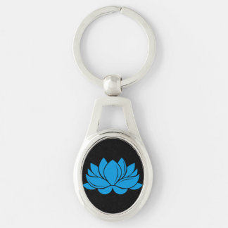 Blue Lotus Blossom Silver-Colored Oval Key Ring