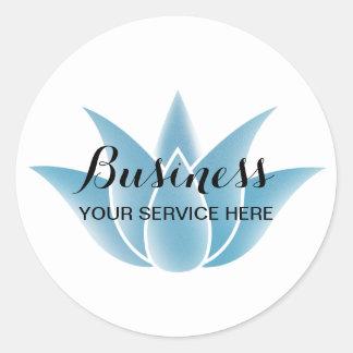 Blue Lotus Floral Logo Spa Salon Yoga Instructor Classic Round Sticker