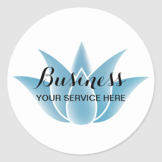 Blue Lotus Floral Logo Spa Salon Yoga Instructor Round Sticker