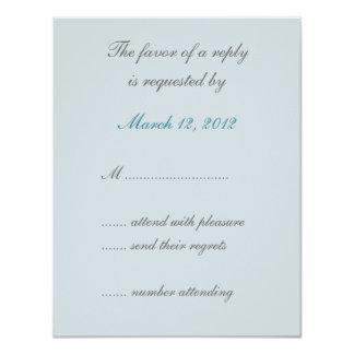 Blue Lotus Floral Wedding Invitation RSVP