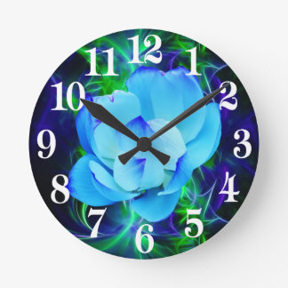 Blue lotus flower and its meaning round clock