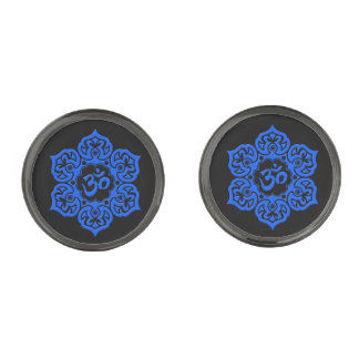 Blue Lotus Flower Om on Black Gunmetal Finish Cufflinks