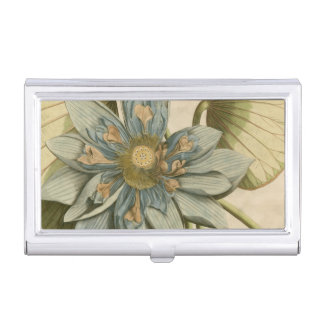 Blue Lotus Flower on Tan Background with Writing Business Card Holder