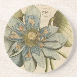 Blue Lotus Flower on Tan Background with Writing Drink Coasters
