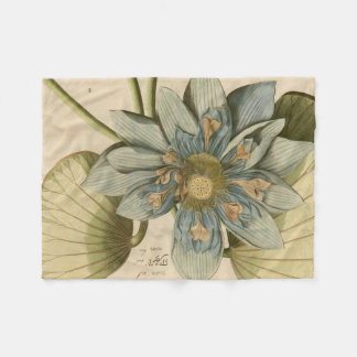 Blue Lotus Flower on Tan Background with Writing Fleece Blanket