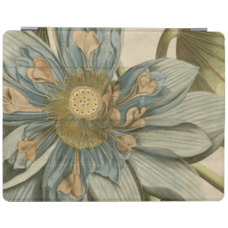 Blue Lotus Flower on Tan Background with Writing iPad Cover