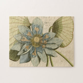 Blue Lotus Flower on Tan Background with Writing Jigsaw Puzzle