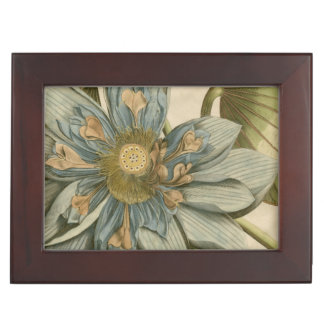 Blue Lotus Flower on Tan Background with Writing Keepsake Box