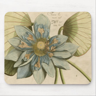 Blue Lotus Flower on Tan Background with Writing Mouse Mat