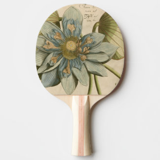 Blue Lotus Flower on Tan Background with Writing Ping Pong Paddle