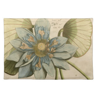 Blue Lotus Flower on Tan Background with Writing Placemat