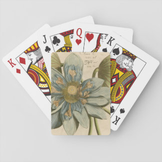 Blue Lotus Flower on Tan Background with Writing Playing Cards