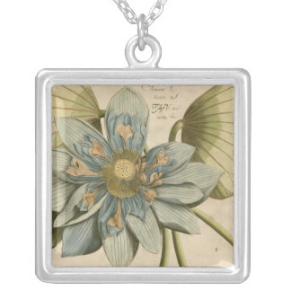 Blue Lotus Flower on Tan Background with Writing Silver Plated Necklace