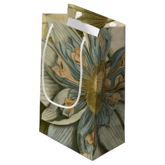 Blue Lotus Flower on Tan Background with Writing Small Gift Bag