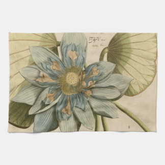 Blue Lotus Flower on Tan Background with Writing Tea Towel