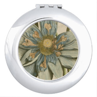 Blue Lotus Flower on Tan Background with Writing Travel Mirror