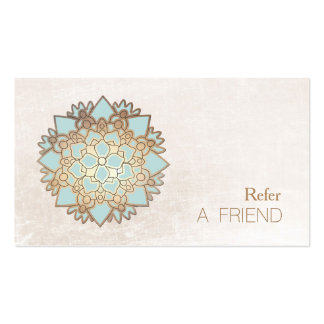 Blue Lotus Flower Salon & Spa Refer A Friend White Double-Sided Standard Business Cards (Pack Of 100)