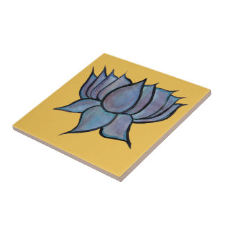 Blue Lotus Flower Small Square Tile