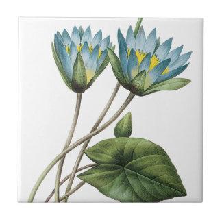 BLUE LOTUS FLOWERS TRIVET SMALL SQUARE TILE