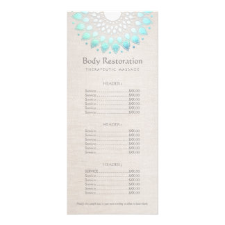 Blue Lotus Health and Wellness Price List Menu Personalised Rack Card