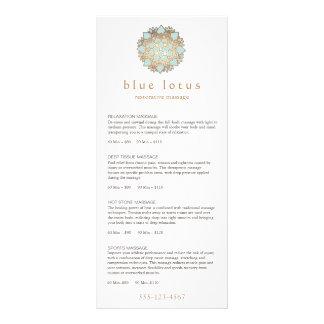 Blue Lotus Massage Therapist Price List Menu Customised Rack Card