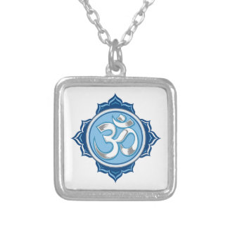 Blue Lotus Om Silver Plated Necklace
